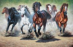 Running herd Pretty Horses, Beautiful Horses, Horse Artwork, Friends Wallpaper, Running Horses, Carousel Horses, White Horses, Horse Pictures, Animal Drawings