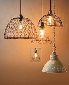 """LIGHTS :: Unique """"junk"""" lighting...(Vintage iron pendant lamp is 89.99)"""