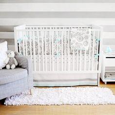 Gray Baby Bedding, Crib Bedding Gray, Gray Nursery Bedding, Baby Bedding Aqua, Aqua Baby Bedding