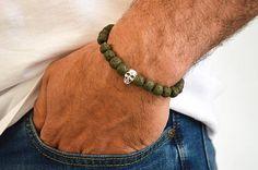 Mannen Lava kralen armband menselijke schedel mannen van Lava