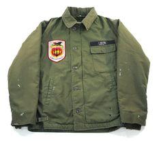 81's U.S.NAVY A-2デッキJKT パッチ付き 表記(M) ステンシル