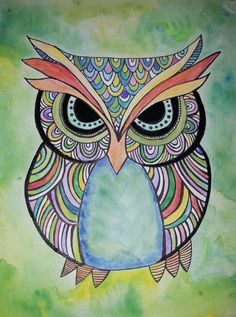 Owl painting by 917creations.com - water color owl, pen art - custom art