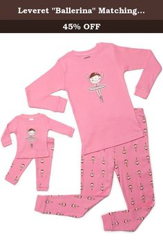 """Leveret """"Ballerina"""" Matching Kid & Doll 2 Piece Pajama 100% Cotton (6 Years, Pink). You'll love these cute and comfy matching Kid & Doll PJs from Leveret! The top features a Bellarina applique, And the bottom features a Bellarina design, Both top and bottom are made of soft cotton. For fire safety, these pajamas should fit snugly. 100% Cotton Machine Wash Warm, Inside Out Made in China These Pajamas are snugly fitted pajamas, When buying please consider that because it is snug fitting if..."""
