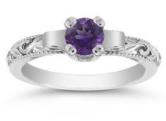 ApplesofGold.com - Art Deco Amethyst Engagement Ring, 14K White Gold Gemstone Jewelry $425.00