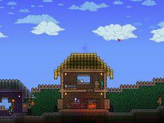 Super Basic House Terraria House Ideas, Blue Exorcist, Terrarium, Big Ben, Building, Inspiration, Houses, Gaming, Terrariums