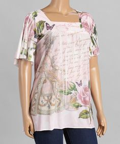 Look at this #zulilyfind! Pink & Green Floral Square Neck Top - Plus by Citi Life #zulilyfinds