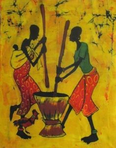 """africanartonline.com - Friends for Life African Batik, Candle wax batik, represents the African woman preparing the daily meal, a baby on her back and a chicken by her side. Hand crafted in Arusha, Tanzania. Stunning color to enhance any room in your home or office. Ready to hang, framed or unframed. Size: """"20x27.5"""" http://africanartonline.com/friends-for-life-african-batik/"""