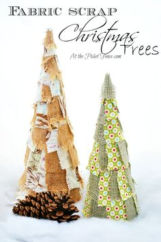 Simple fabric scrap Christmas trees from atthepicketfence.com | Put your leftover fabric to good use by making these simple fabric scrap Christmas trees. Full tutorial included here.