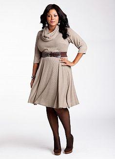 Ashley Stewart: Ribbed Dress with Studded Belt