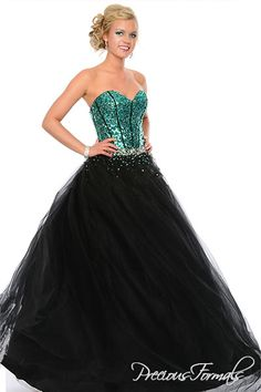 Precious Formals Style O21021 Sequins create a cheetah print bodice that adds a touch of fierce to this black ballgown. In other colors allover sequins make the ballgown look very fun and flirty.
