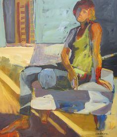 Girl On Ottoman Oil42x36