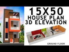 House plan with elevation by nikshail House Plans Uk, Little House Plans, 30x40 House Plans, Narrow House Plans, Model House Plan, House Floor Plans, Single Floor House Design, Bungalow House Design, House Front Design