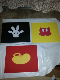 Created these Mickey Mouse Canvases for my sons Mickey Mouse themed bedroom. Mickey Mouse Room, Mickey Mouse And Friends, Mickey Mouse Clubhouse, Mickey Bathroom, Mouse Paint, Disney Bedrooms, Childrens Bathroom, Toy Rooms, Disney Crafts