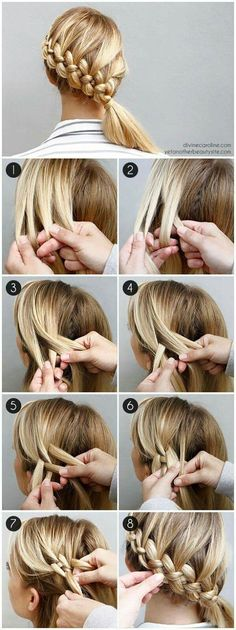 flechtfrisuren selber machen mittellange blonde haare flechten If you liked this pin, click now for more details. New Braided Hairstyles, Diy Hairstyles, Hairstyle Tutorials, Holiday Hairstyles, Hairstyle Ideas, Summer Hairstyles, Hairstyle Braid, Wedding Hairstyles, Latest Hairstyles