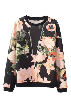 O-neck Long Sleeves Flower Print Pullover Sweatshirt Printed Sweatshirts, Women's Sweatshirts, Hoodies, Fashion Sweatshirts, Vogue, Latest Street Fashion, Fashion Outfits, Womens Fashion, Style Fashion