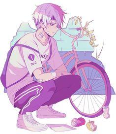 Anime Guy | White Hair | Blue Eyes | Bike | Sporty