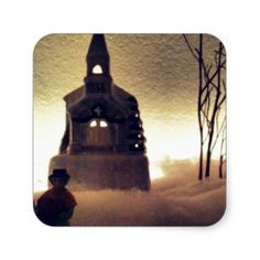 Snowing in December Square Sticker