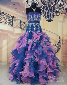 Wholesale New Strapless Embroidery Organza Lace Floor length Quinceanera Dresses Wedding Dresses Bridal Gown, Free shipping, $100.8-145.6/Piece | DHgate