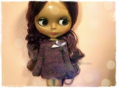 BLYTHE Sweater, Jumper, Pure Neemo, Licca, Takara, Pullip, Dal - Knitted Gray, Violet and Pink Sweater With Bow #83 by MPdollWorld on Etsy