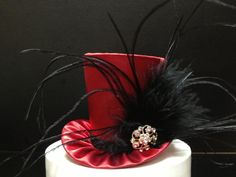 Red and Black Satin Mad Hatter Mini Top Hat for by daisyleedesign