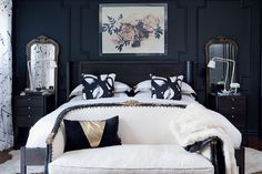 Bedroom decor: Moody and dramatic master suite—After eight years of focusing on the rest of her home, designer and homeowner Christine Dovey sets her sights on the master bedroom, reinventing the neglected eyesore into a moody retreat.