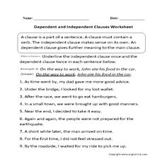 Worksheet Independent And Dependent Clauses Worksheet dependent clause worksheets and grammar on pinterest independent clauses worksheet