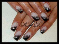 Black lace diagonal French nails