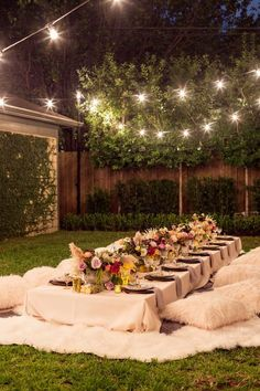 boho backyard dinner party.