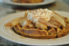 Mennonite Girls Can Cook: Pumpkin Waffles with Steamed Cinnamon Apples