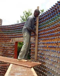 Building with plastic bottles.