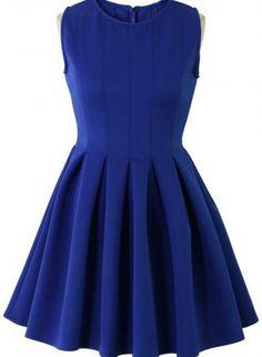 Blue Sleeveless Skater Dress #pleated #cocktaildress #partydress #flare #ustrendy