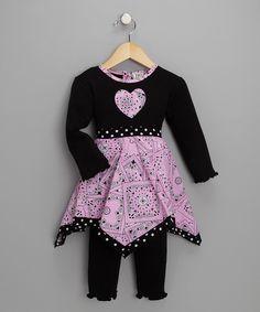 Pink & Black Bandana Tunic & Leggings