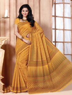 Dark Yellow Cotton Stylish Printed Saree