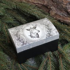 woodland deer jewelry box handmade decorated in decoupaged unique christmas gift. $25.00, via Etsy.