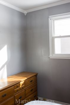 Paint color is BEHR Premium Plus Ultra, Interior Eggshell Enamel, Pewter Mug - bedroom Behr Gray Paint, Silver Grey Paint, Gray Painted Walls, Painted Beds, Light Gray Bedroom, Grey Bedroom Paint, Bedroom Colors, Bedroom Inspo, Master Bedroom