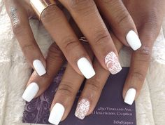 Matte white lace nails