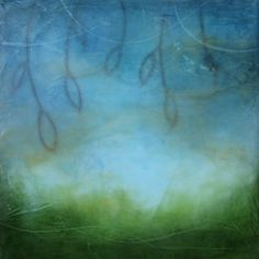 Kathie Cordner - Blue Haze, encaustic on board, 12x12