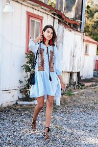 BLOGGER Fav Vtg Boho Blue Floral Retro Print Embroidered Wedding Tunic Dress | eBay