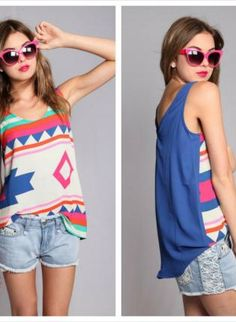 Blue Tank Top - Large Tribal Print Tank with