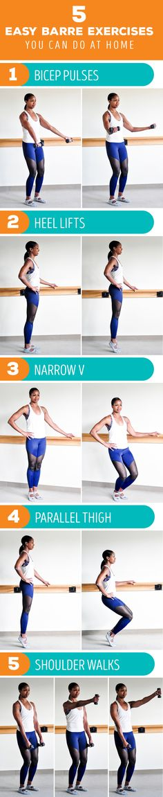 Try this quick and easy barre workout routine for toning that you can do at home.