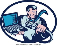 Done in retro woodcut style, the image shows a computer guy holding a network cable and laptop. - stock vector #businessman #woodcut #illustration