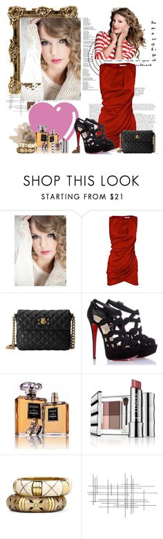 """""""Taylor Swift"""" by im-a-daydreamer ❤ liked on Polyvore featuring Love Quotes Scarves, CO, Marc Jacobs, Christian Louboutin, Chanel, Clinique, MNG by Mango, Crate and Barrel and Brave Space Design"""