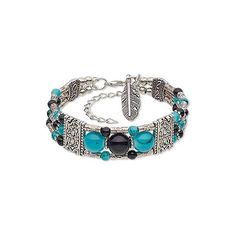 Glass with antiqued silver-feather bracelet