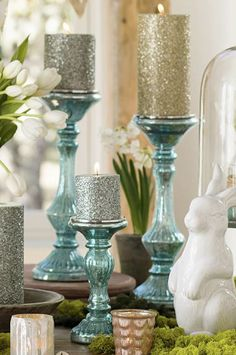 Blue Mercury Glass Pillar Candleholders