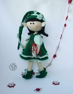 Elf doll knitted flat Knitting pattern by Simplytoys13 Boucle Yarn, Elf Doll, Christmas Knitting Patterns, Halloween Books, Lang Yarns, Plymouth Yarn, Cascade Yarn, Paintbox Yarn, Dog Sweaters