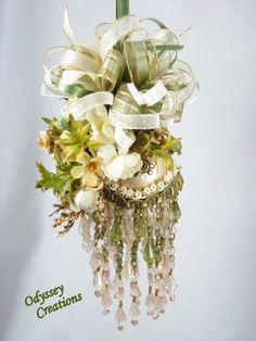 Victorian Christmas Ornaments | Victorian Christmas or Bridal Ornament in Light Olive Green, Ivory and ...
