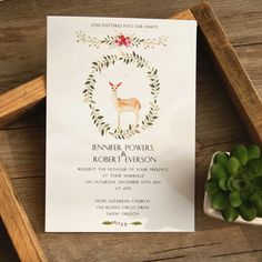 A wedding invitation with deer silhouette will make your wedding stand out!Card Type:Flat CardInvitation Card Dimensions:5.00 x 7.00 in (w x h)Response Card Dimensions:3.50 x 5.00 in (w x h)Reception Card Dimensions:5.00 x 3.50 in (w x h)Thank You Note:5.00 x 3.50 in (w x h)Save The Date:5.00 x 3.50 in (w x h)Outer Envelope:7.50 x 5.56 in (w x h)Envelopes for Other Cards:5.25 x 3.75 in (w x h)Please note, reception cards don't come with envelopes. If you need them, please order them separ...