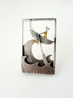 Becky Crow - Crest Of A Wave Brooch (silver, gold leaf)