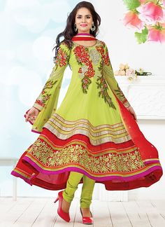 Worthy Red & Parrot Green Viscose Anarkali Suit