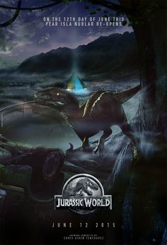The story is based on a dinosaur which is created at Jurassic World, which is a theme park, located on an island, called Isla Nublar, which was the site of the original Jurassic Park. The Jurassic World contain so many species of Dinosaurs' clones. Jurassic World Poster, Jurassic Movies, Jurassic Park Series, Jurassic Park Logo, Jurassic Park World, Dinosaur Wallpaper, Animal Wallpaper, Free Poster Printables, World Movies